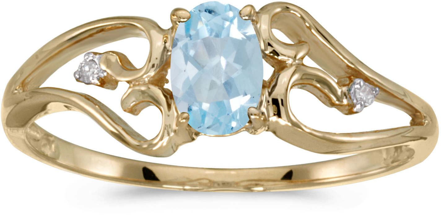 14k Yellow Gold Oval Aquamarine And Diamond Ring (CM-RM2585X-03)