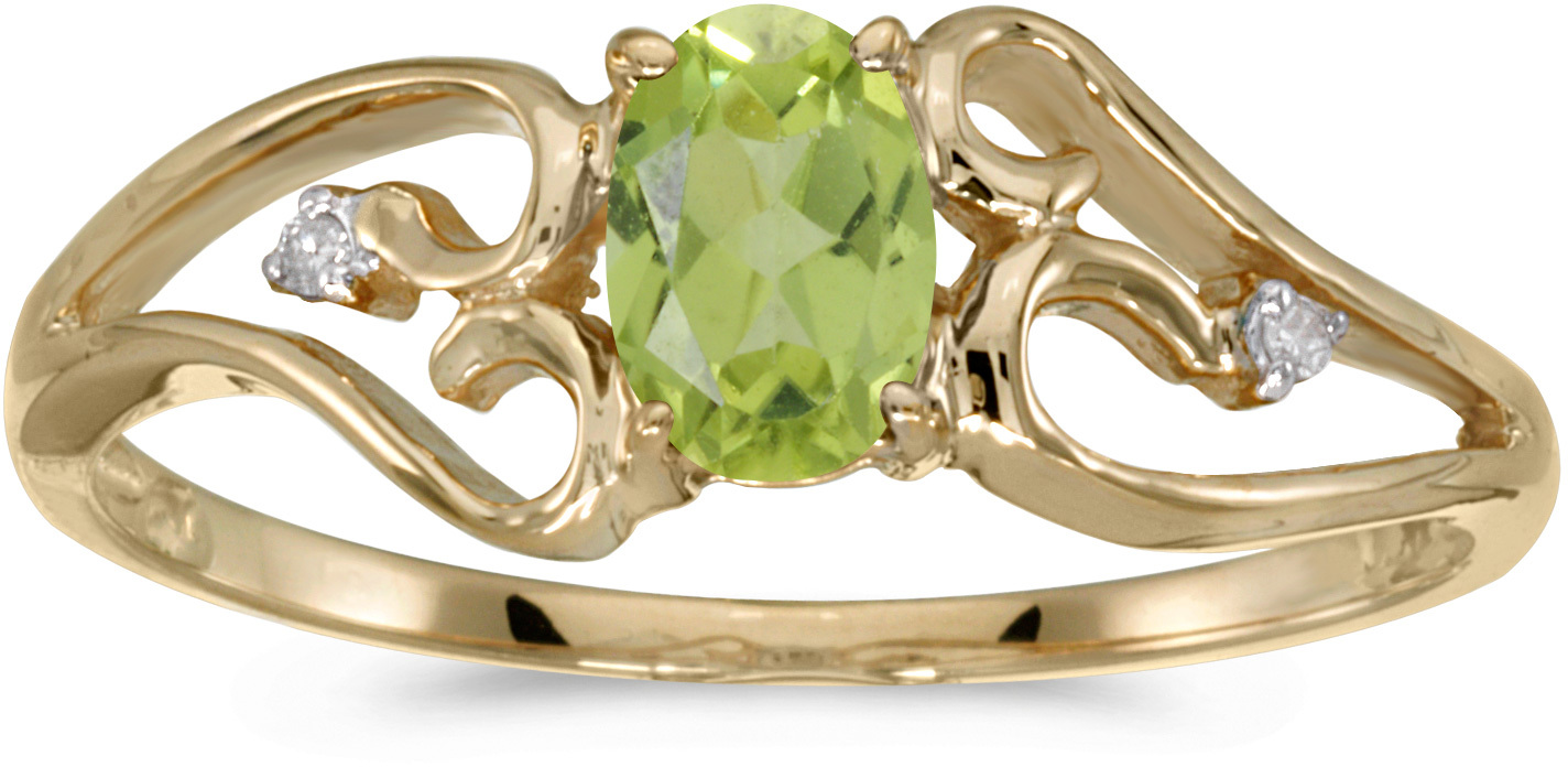 14k Yellow Gold Oval Peridot And Diamond Ring (CM-RM2585X-08)