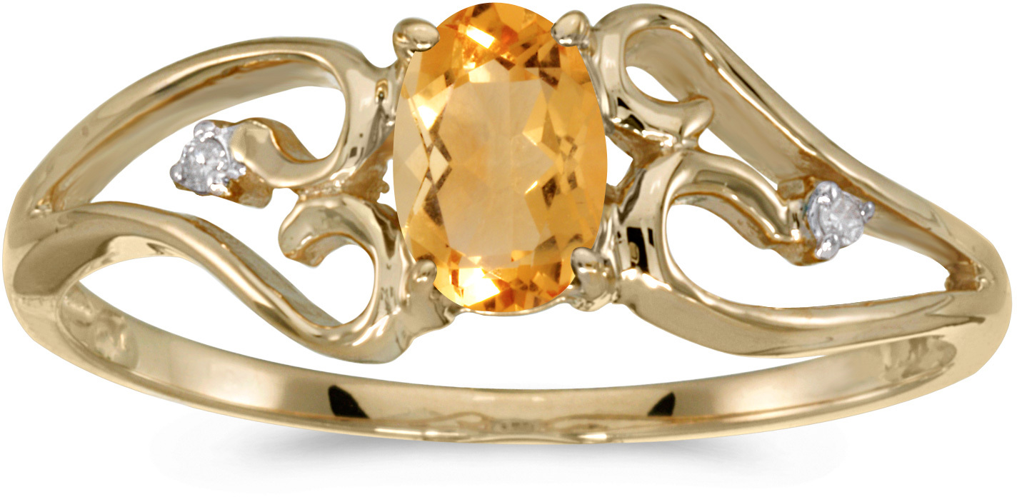 14k Yellow Gold Oval Citrine And Diamond Ring (CM-RM2585X-11)