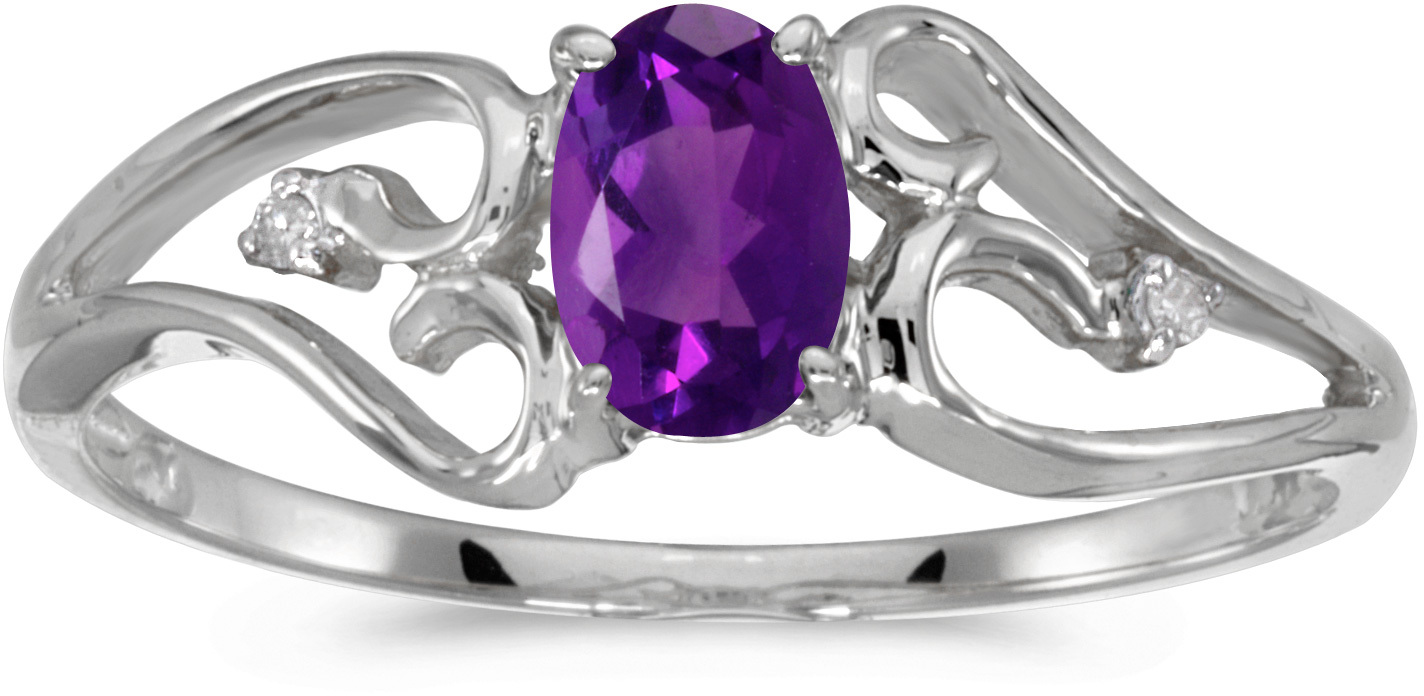 14k White Gold Oval Amethyst And Diamond Ring (CM-RM2585XW-02)