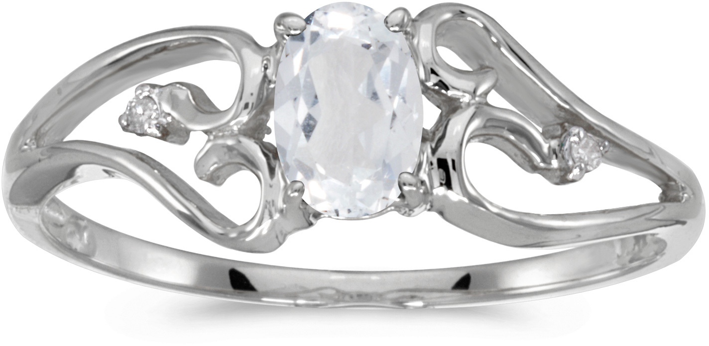 14k White Gold Oval White Topaz And Diamond Ring (CM-RM2585XW-04)