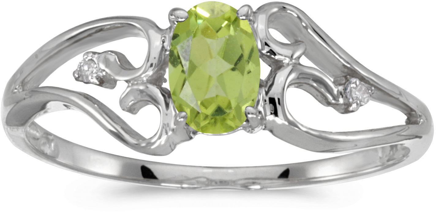 14k White Gold Oval Peridot And Diamond Ring (CM-RM2585XW-08)