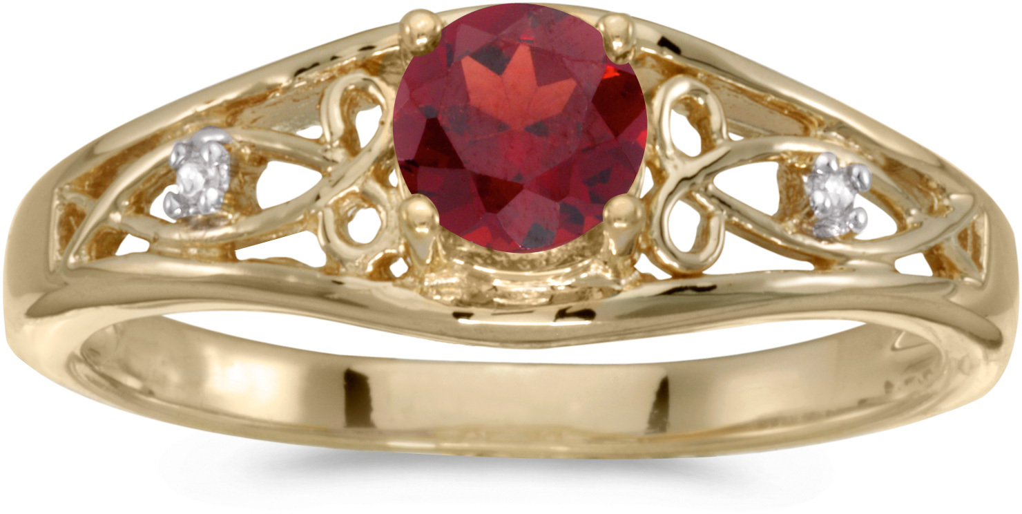 10k Yellow Gold Round Garnet And Diamond Ring (CM-RM2587-01)