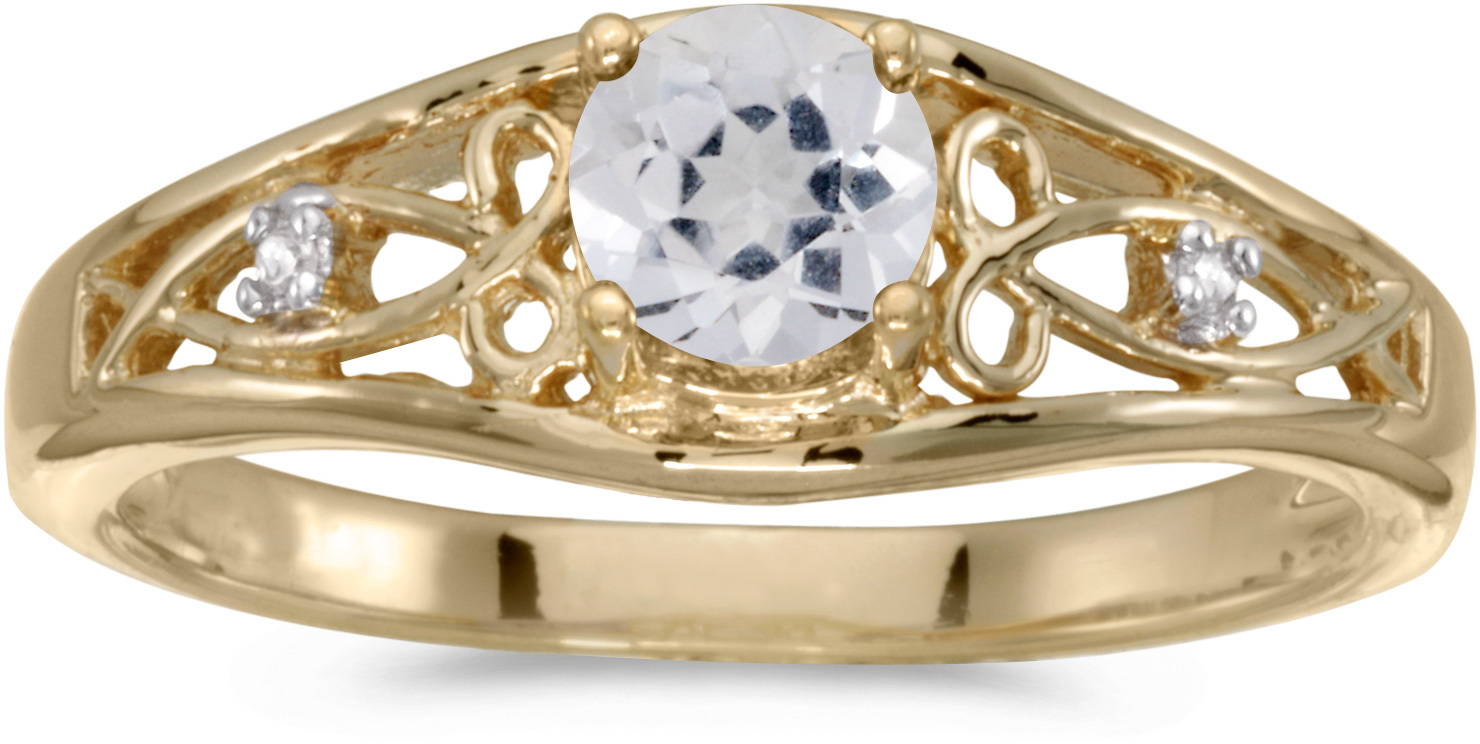 10k Yellow Gold Round White Topaz And Diamond Ring (CM-RM2587-04)