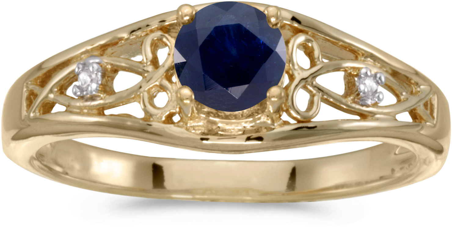 10k Yellow Gold Round Sapphire And Diamond Ring (CM-RM2587-09)