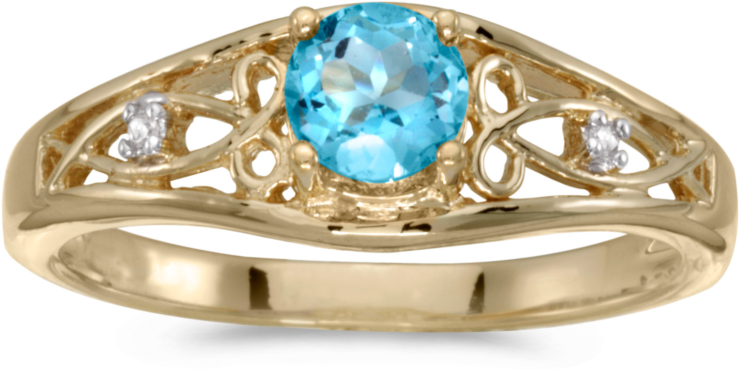 10k Yellow Gold Round Blue Topaz And Diamond Ring (CM-RM2587-12)