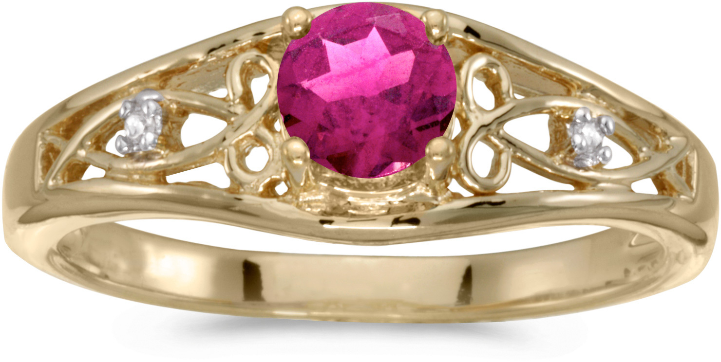 10k Yellow Gold Round Pink Topaz And Diamond Ring (CM-RM2587-PT)