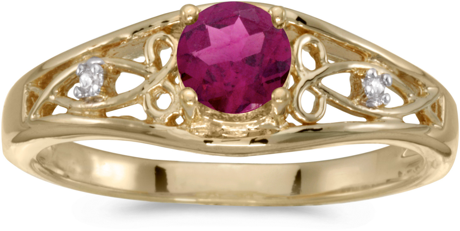 10k Yellow Gold Round Rhodolite Garnet And Diamond Ring (CM-RM2587-RG)