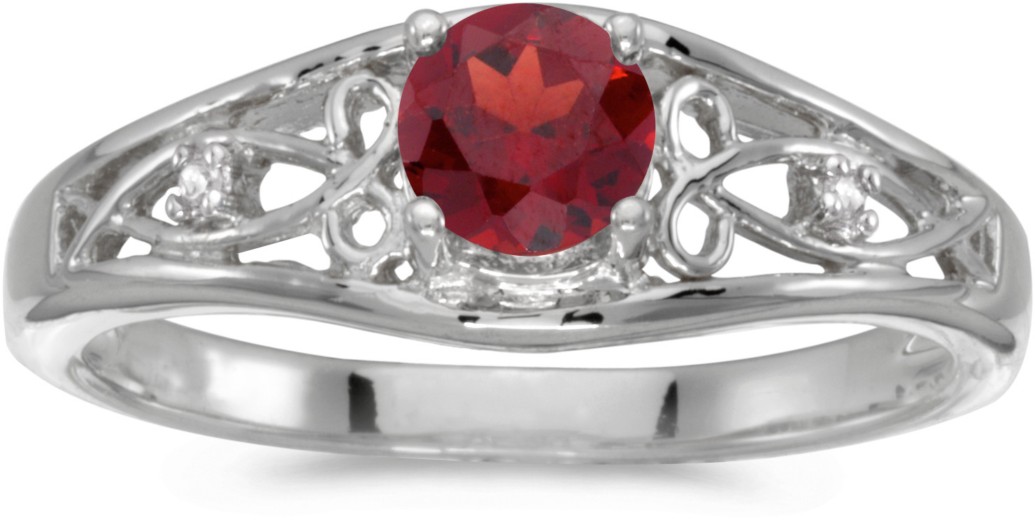 10k White Gold Round Garnet And Diamond Ring (CM-RM2587W-01)