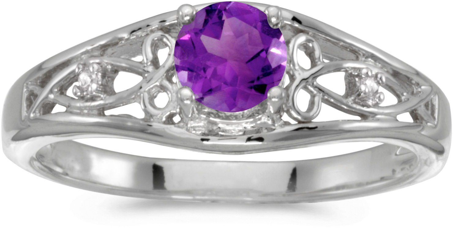 10k White Gold Round Amethyst And Diamond Ring (CM-RM2587W-02)