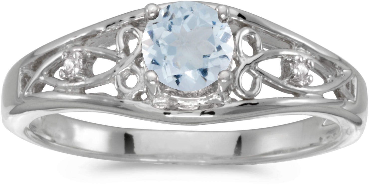 10k White Gold Round Aquamarine And Diamond Ring (CM-RM2587W-03)