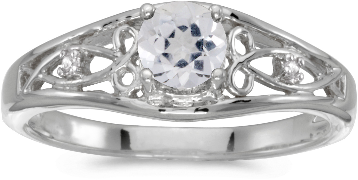 10k White Gold Round White Topaz And Diamond Ring (CM-RM2587W-04)