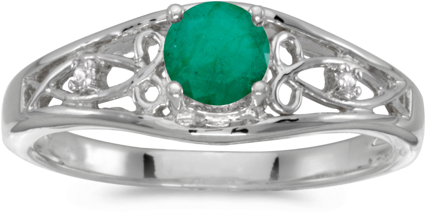 10k White Gold Round Emerald And Diamond Ring (CM-RM2587W-05)