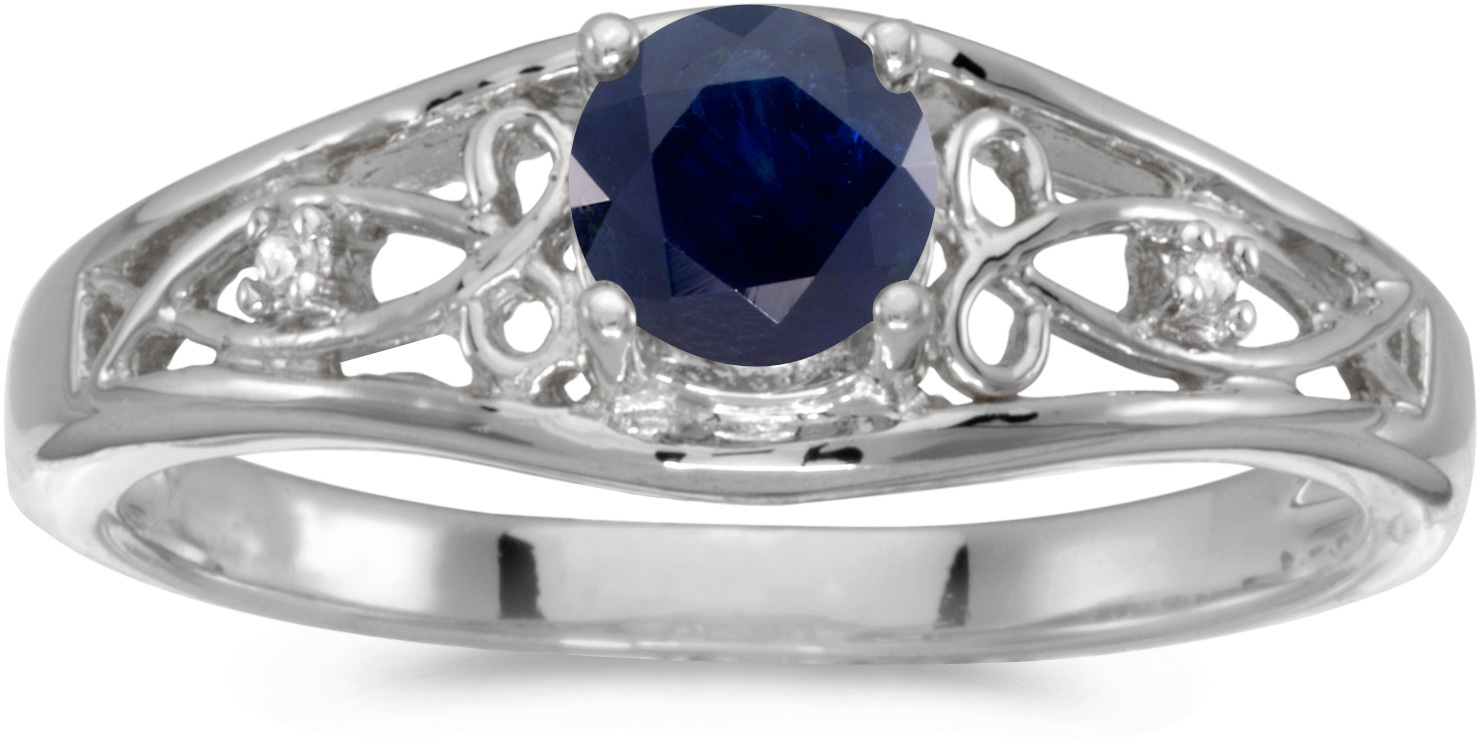 10k White Gold Round Sapphire And Diamond Ring (CM-RM2587W-09)