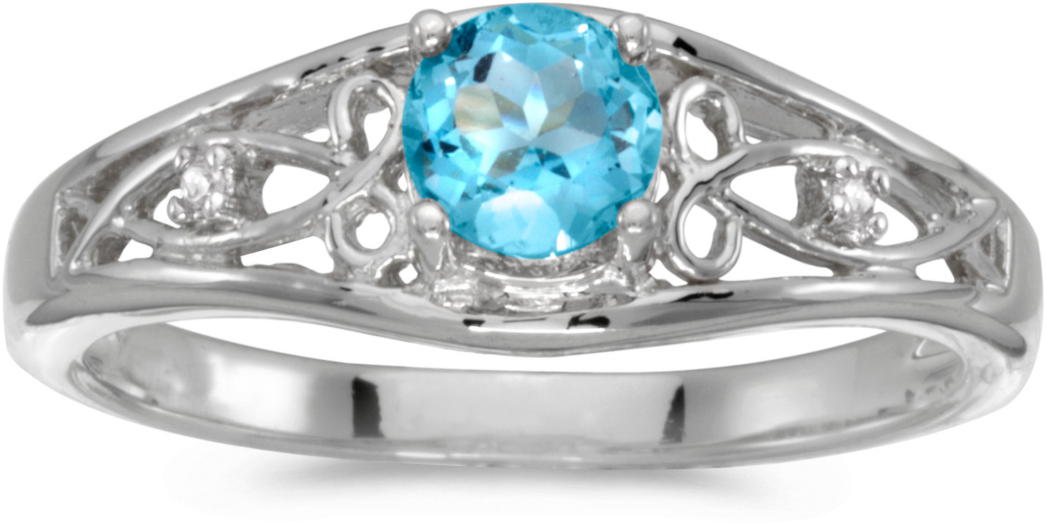 10k White Gold Round Blue Topaz And Diamond Ring (CM-RM2587W-12)