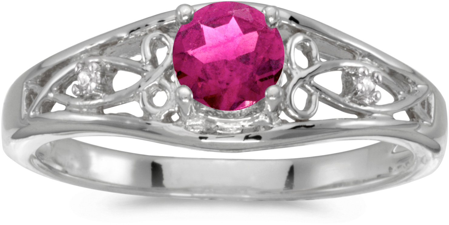 10k White Gold Round Pink Topaz And Diamond Ring (CM-RM2587W-PT)