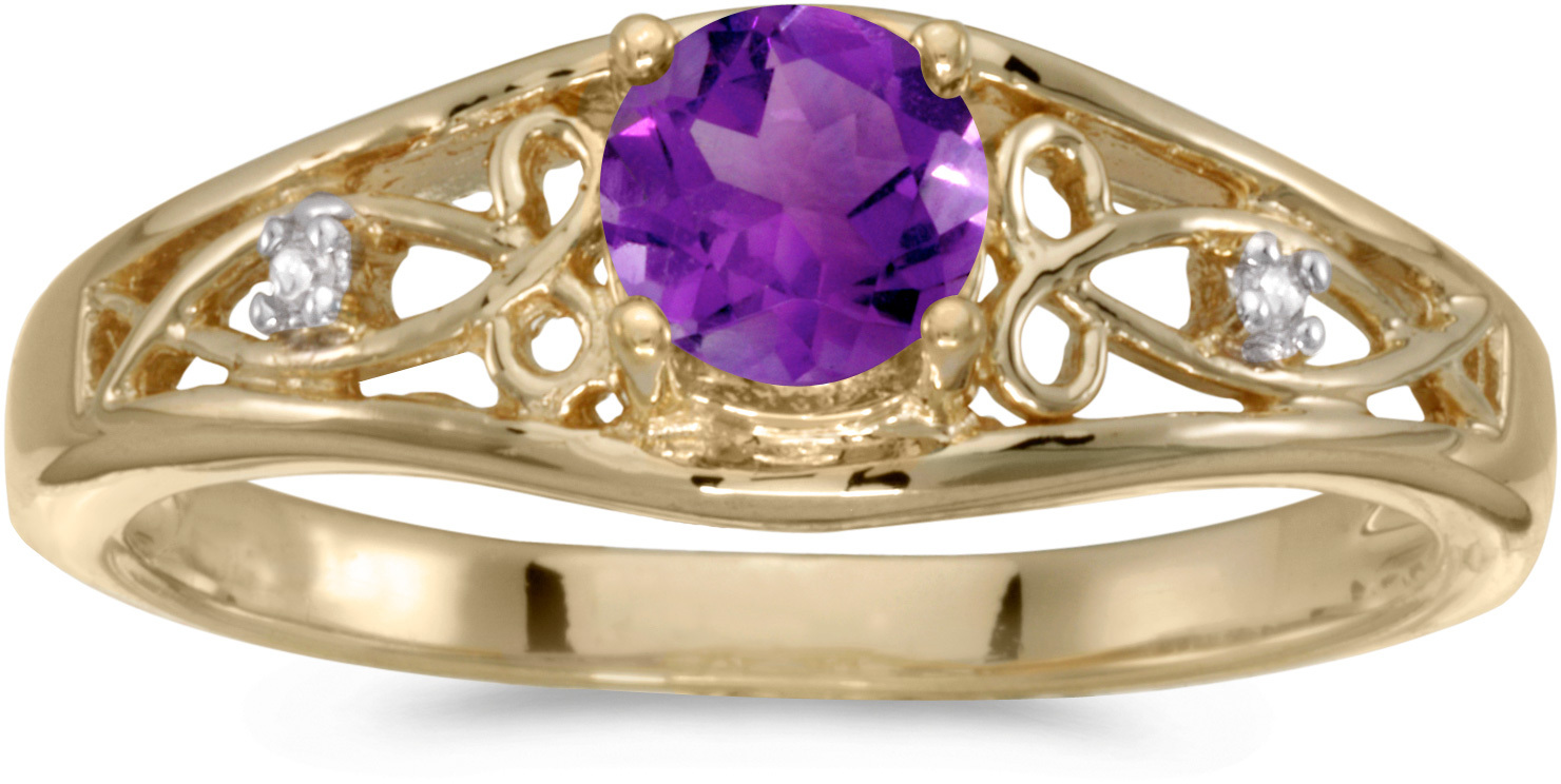 14k Yellow Gold Round Amethyst And Diamond Ring (CM-RM2587X-02)