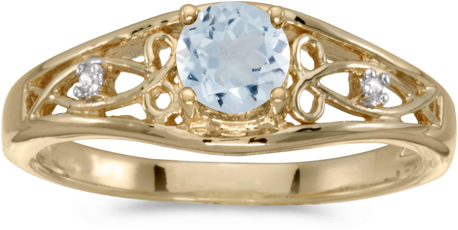 14k Yellow Gold Round Aquamarine And Diamond Ring (CM-RM2587X-03)