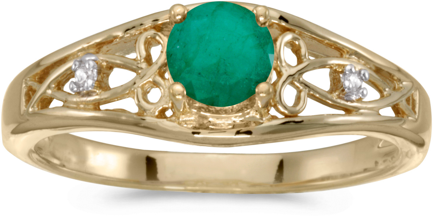 14k Yellow Gold Round Emerald And Diamond Ring (CM-RM2587X-05)