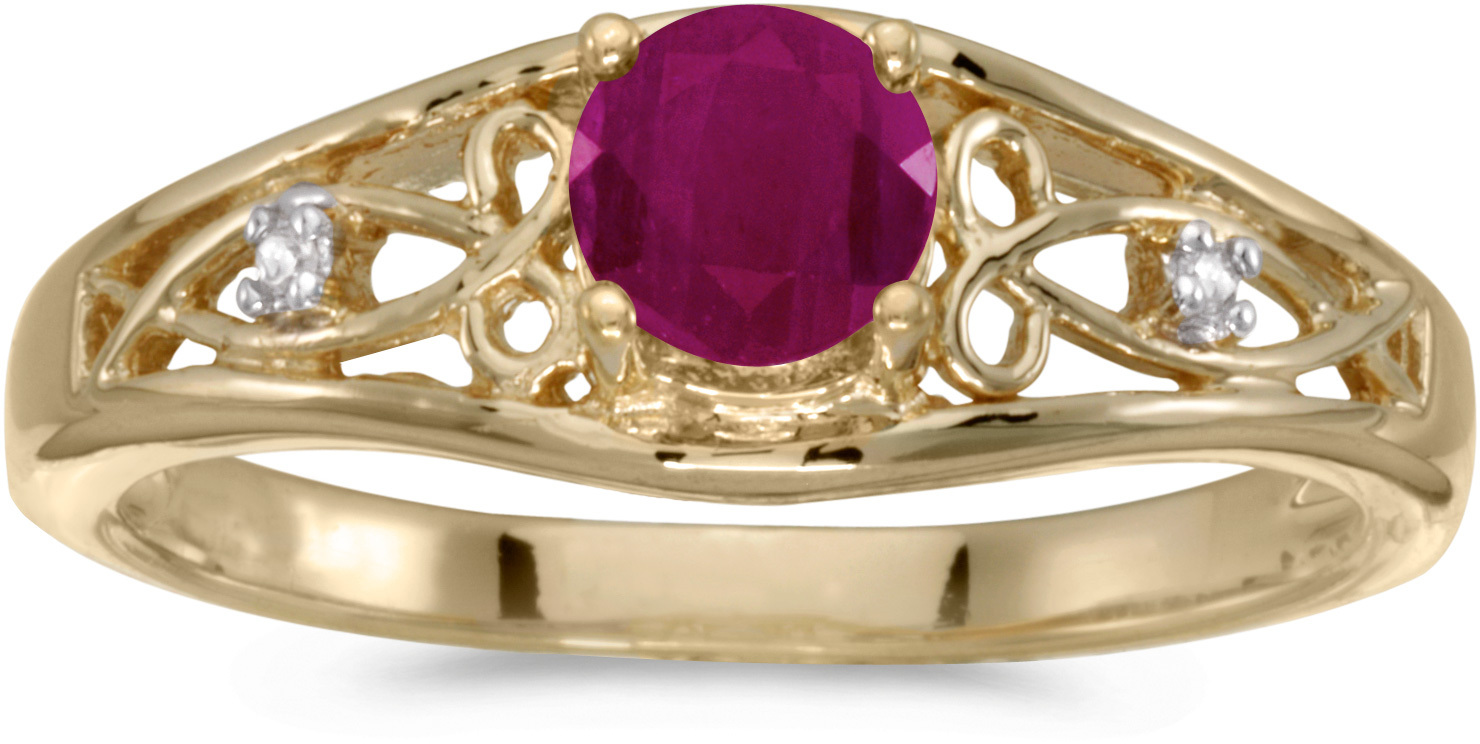 14k Yellow Gold Round Ruby And Diamond Ring (CM-RM2587X-07)