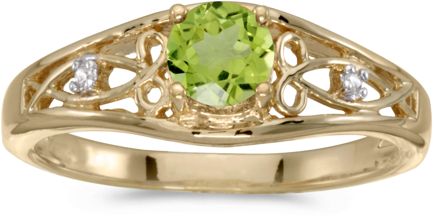 14k Yellow Gold Round Peridot And Diamond Ring (CM-RM2587X-08)