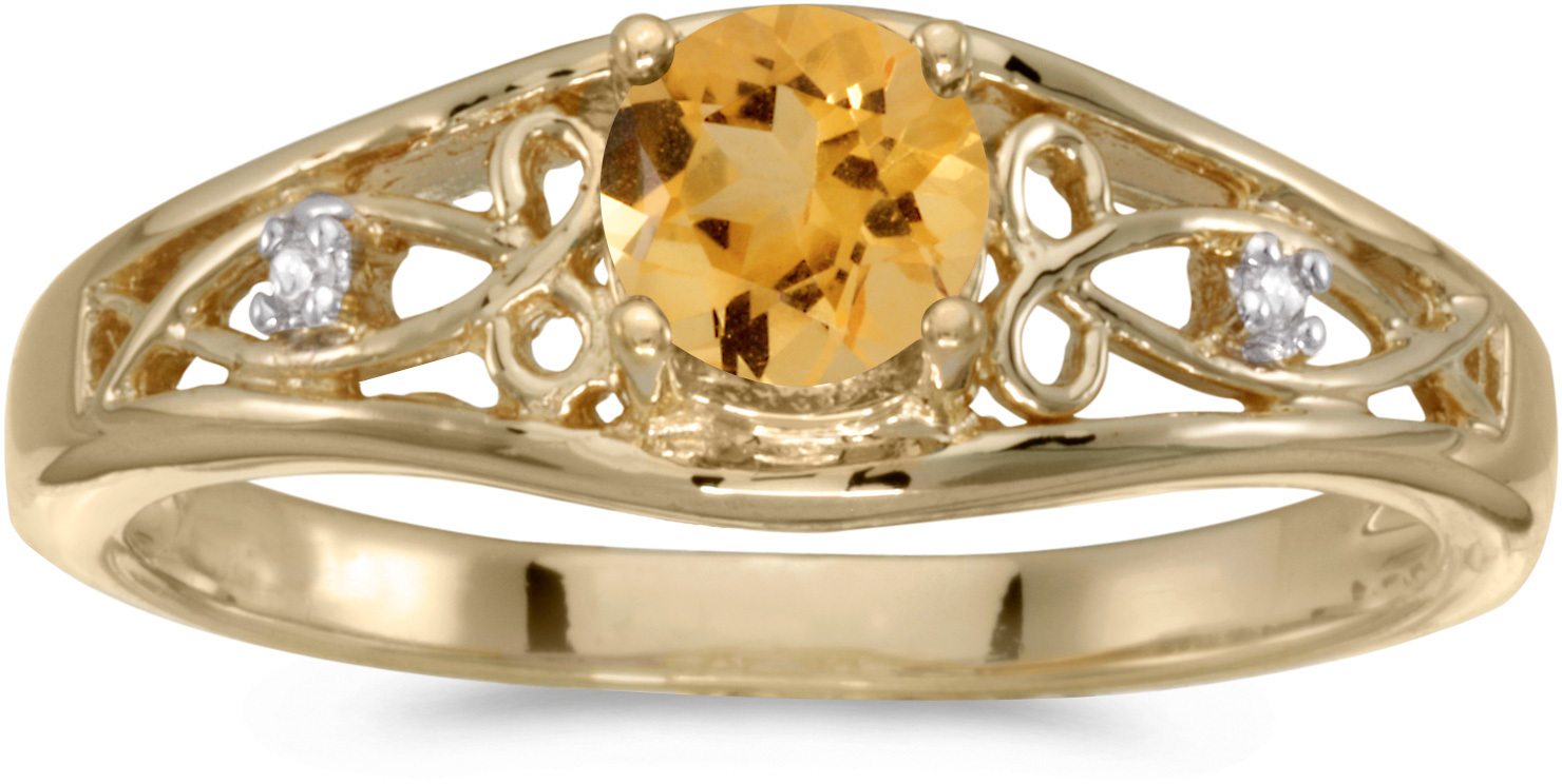 14k Yellow Gold Round Citrine And Diamond Ring (CM-RM2587X-11)