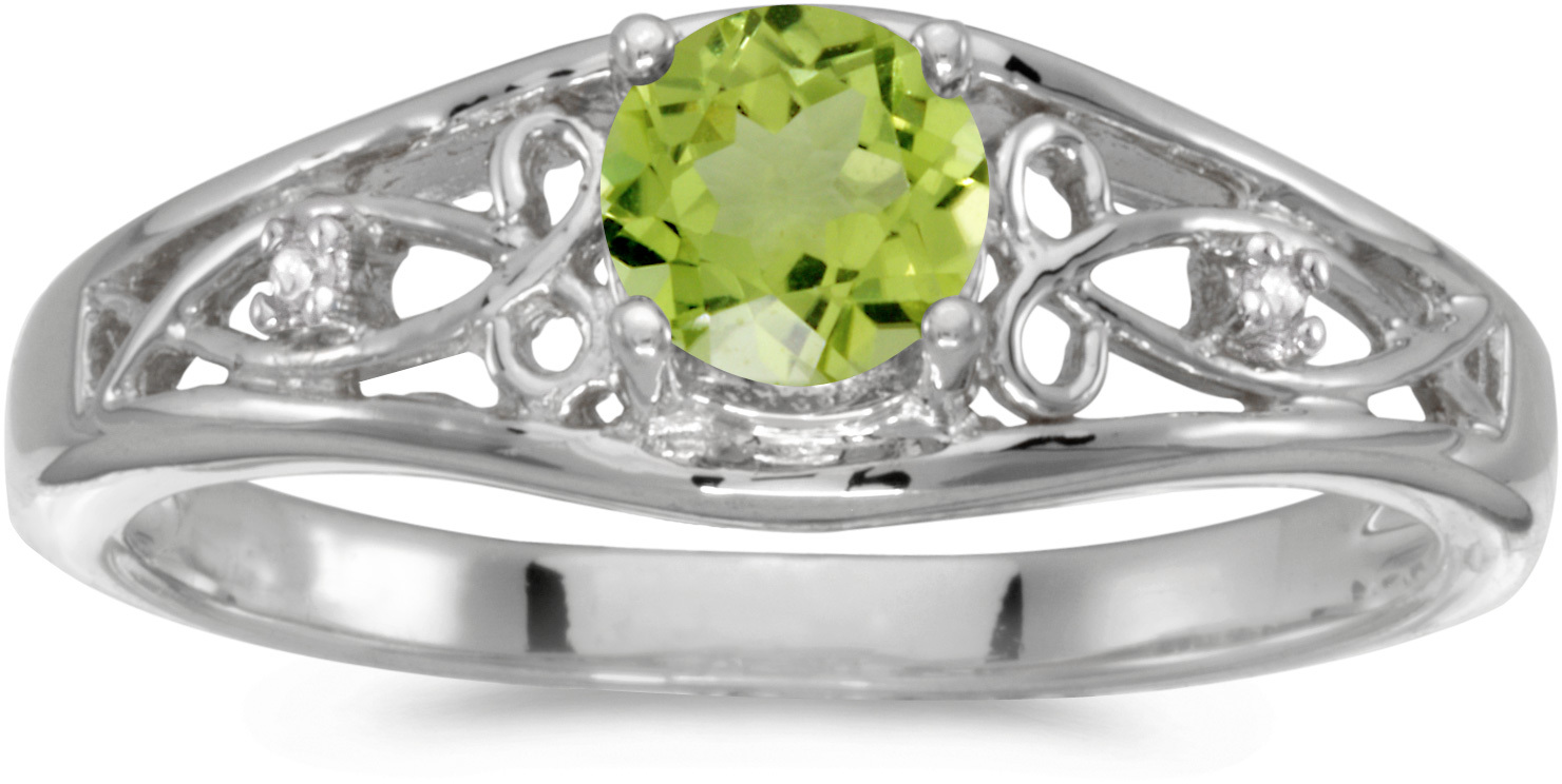 14k White Gold Round Peridot And Diamond Ring (CM-RM2587XW-08)