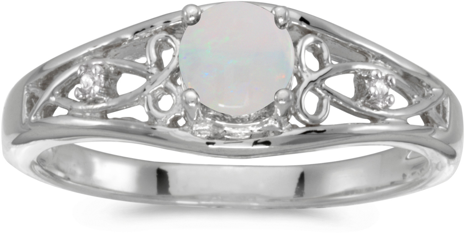 14k White Gold Round Opal And Diamond Ring (CM-RM2587XW-10)