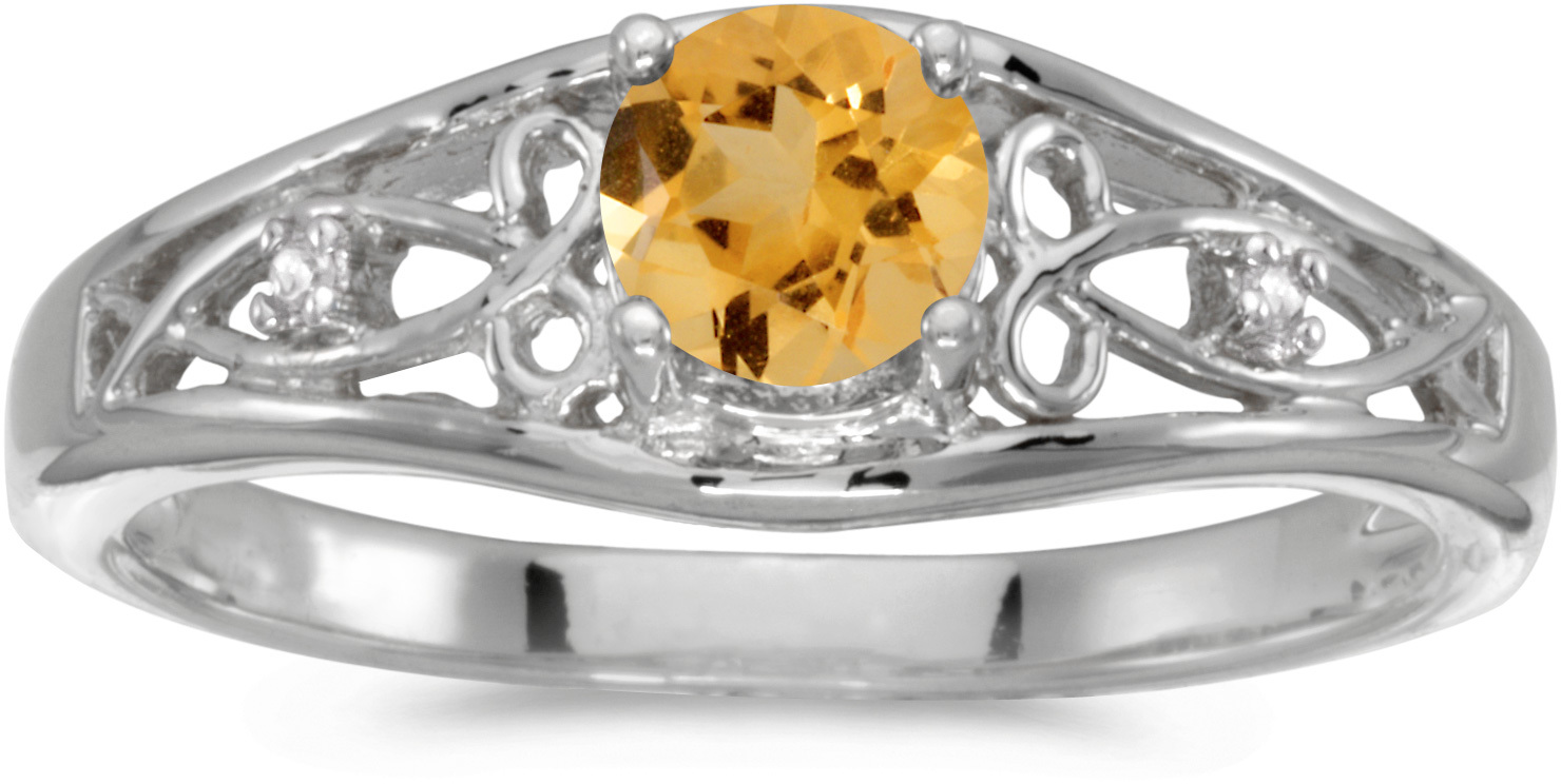 14k White Gold Round Citrine And Diamond Ring (CM-RM2587XW-11)
