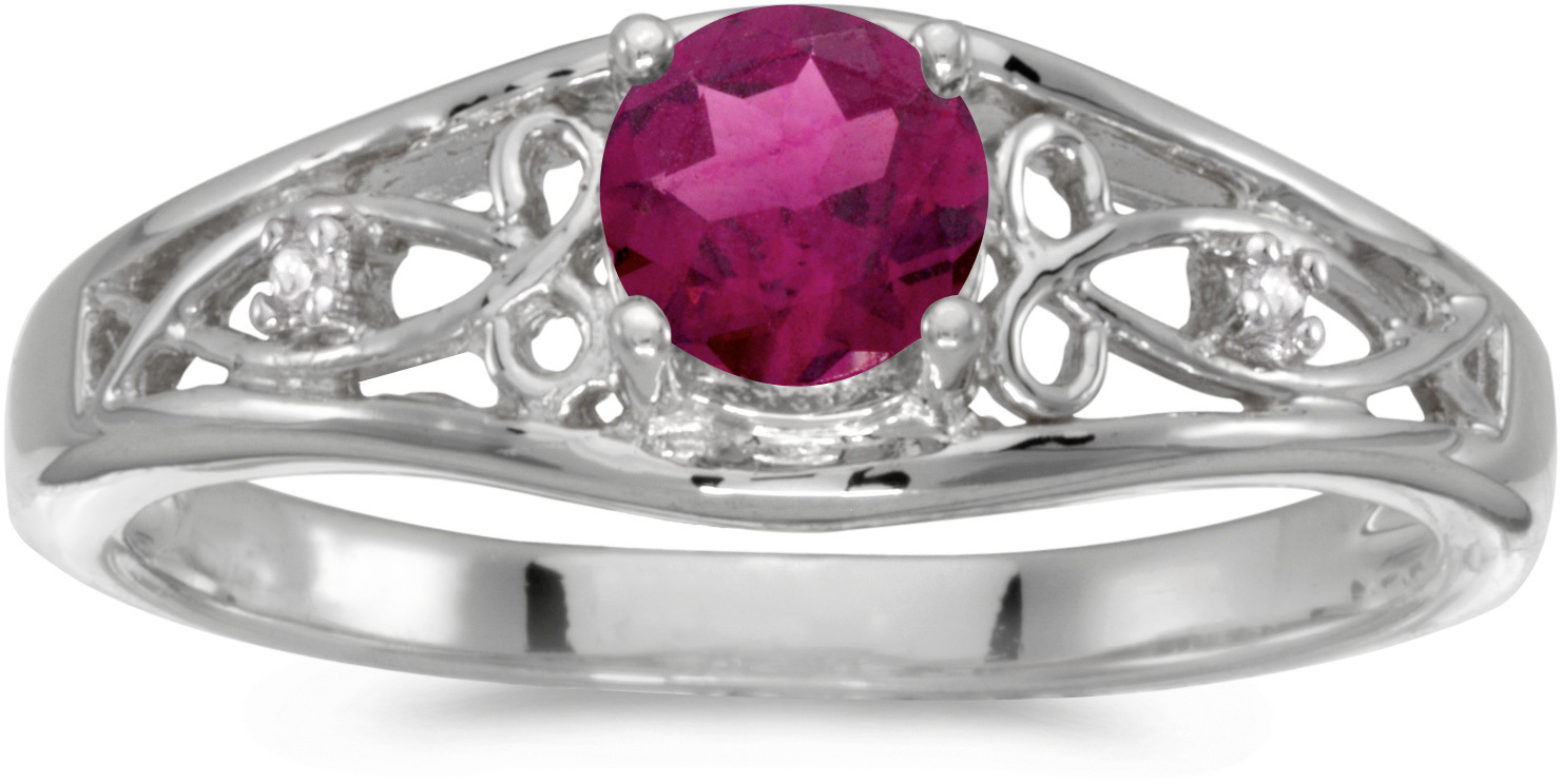 14k White Gold Round Rhodolite Garnet And Diamond Ring (CM-RM2587XW-RG)