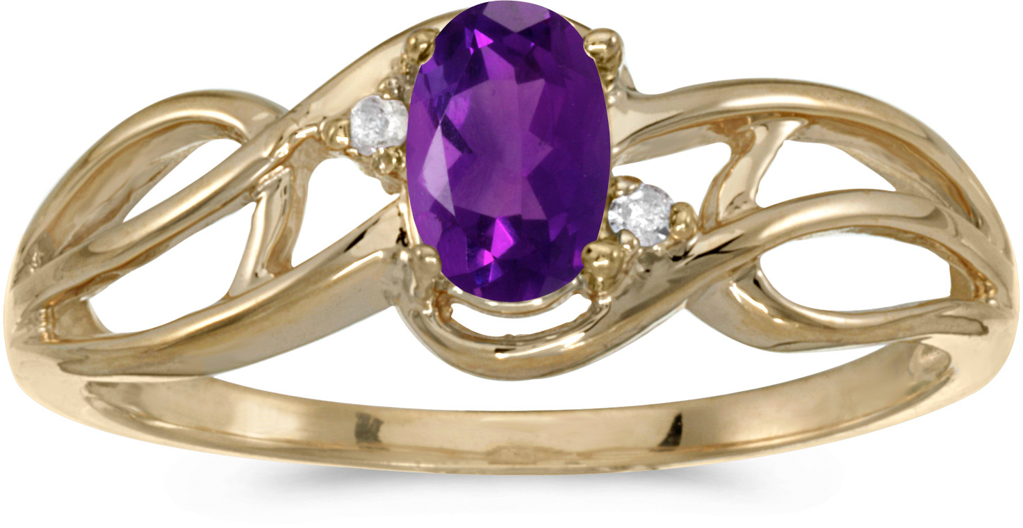 10k Yellow Gold Oval Amethyst And Diamond Curve Ring (CM-RM2588-02)