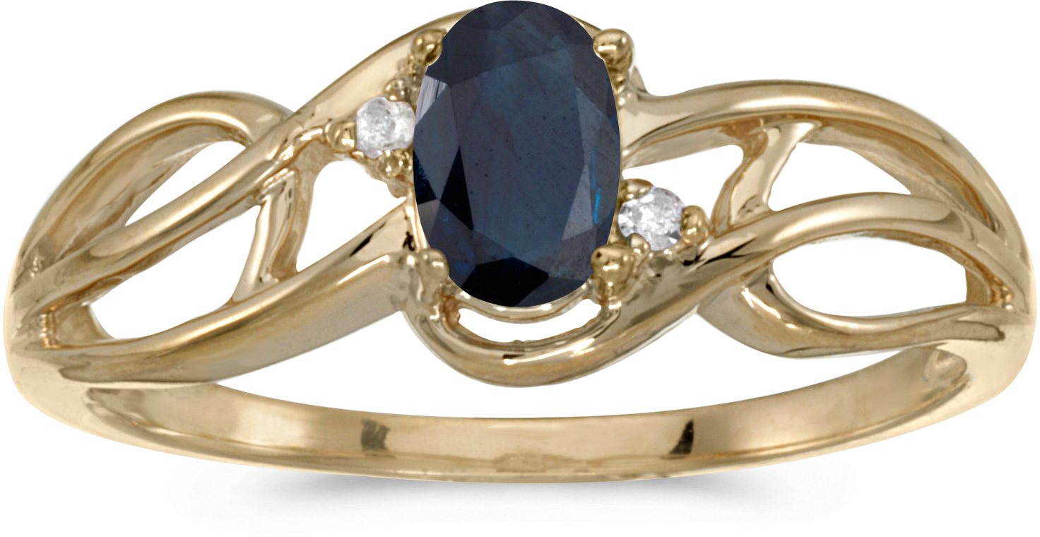 10k Yellow Gold Oval Sapphire And Diamond Curve Ring (CM-RM2588-09)