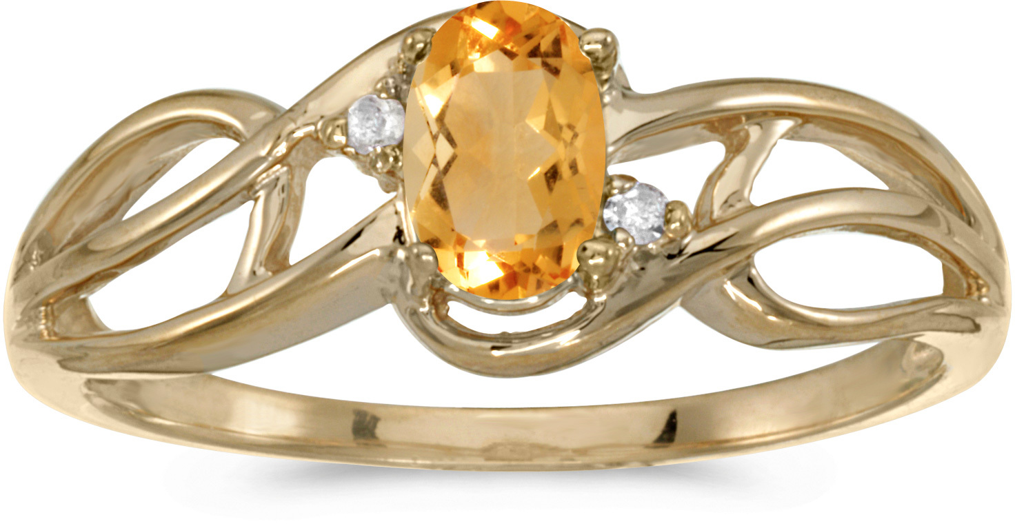 10k Yellow Gold Oval Citrine And Diamond Curve Ring (CM-RM2588-11)