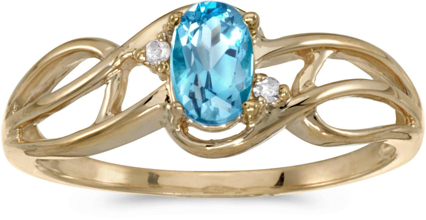 10k Yellow Gold Oval Blue Topaz And Diamond Curve Ring (CM-RM2588-12)