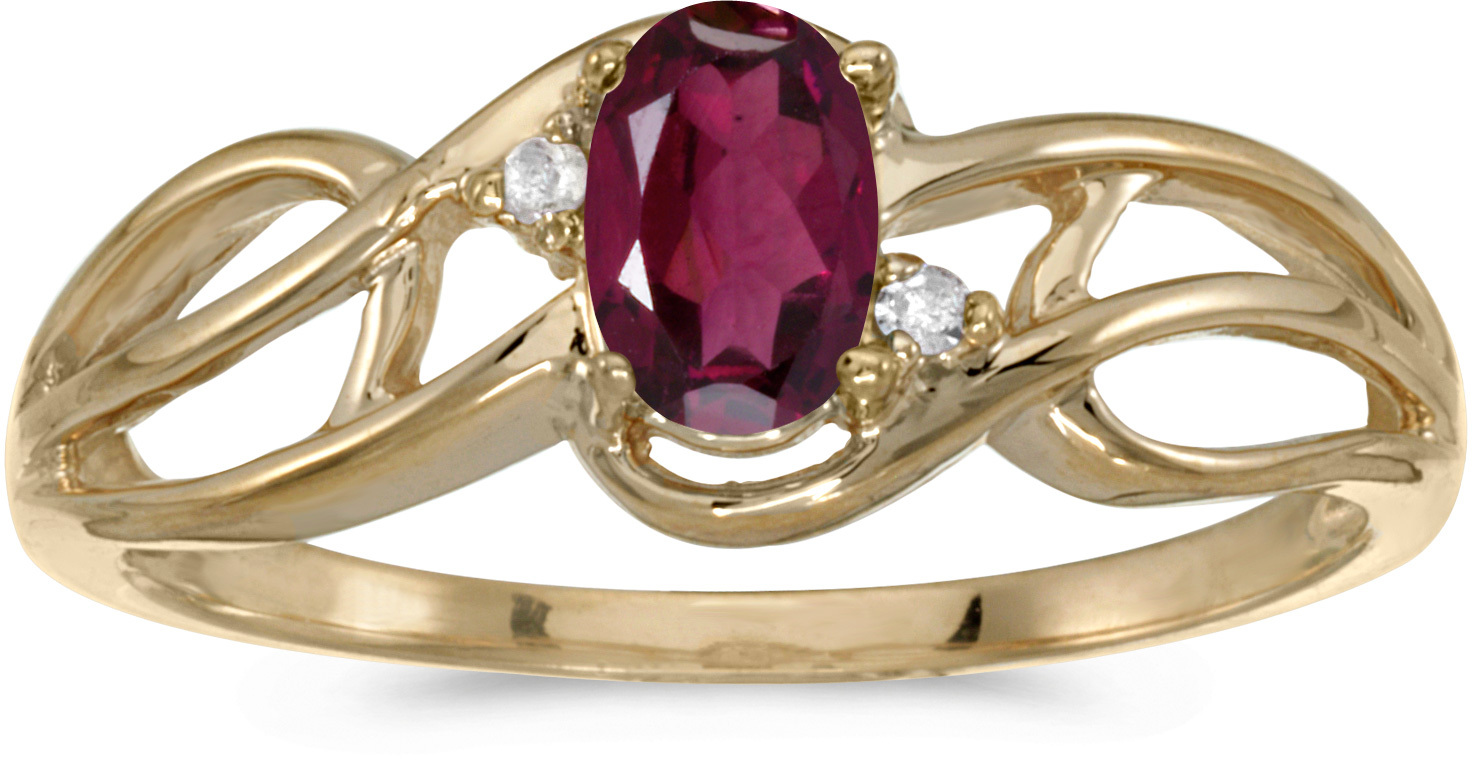 10k Yellow Gold Oval Rhodolite Garnet And Diamond Curve Ring (CM-RM2588-RG)