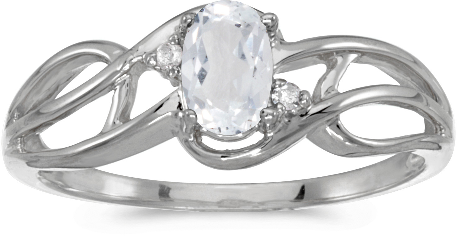 10k White Gold Oval White Topaz And Diamond Curve Ring (CM-RM2588W-04)