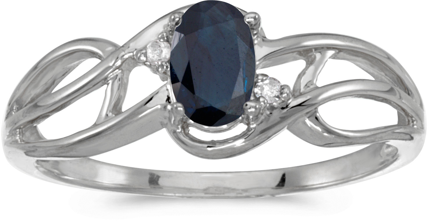 10k White Gold Oval Sapphire And Diamond Curve Ring (CM-RM2588W-09)