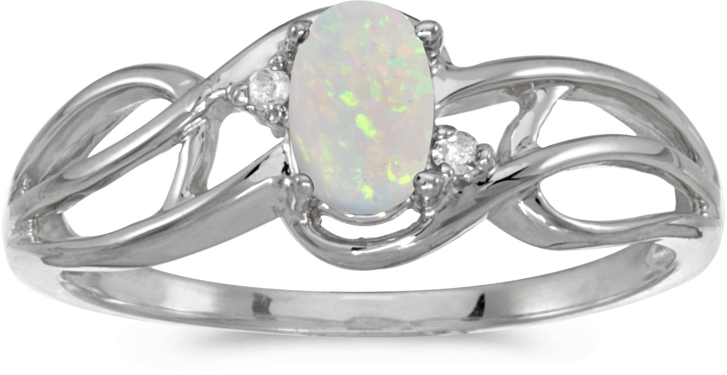 10k White Gold Oval Opal And Diamond Curve Ring (CM-RM2588W-10)