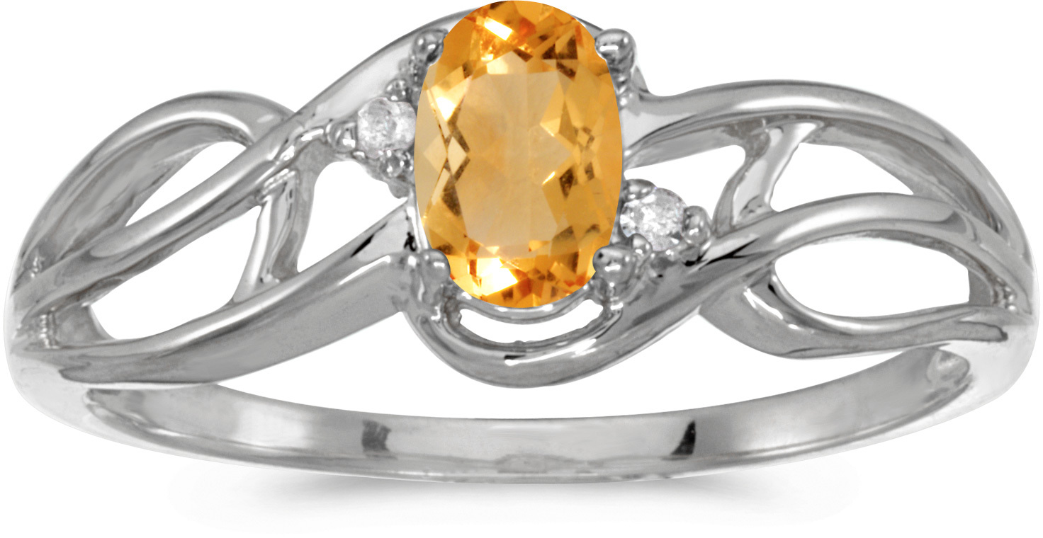 10k White Gold Oval Citrine And Diamond Curve Ring (CM-RM2588W-11)
