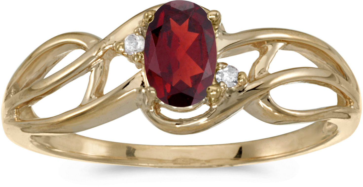 14k Yellow Gold Oval Garnet And Diamond Curve Ring (CM-RM2588X-01)