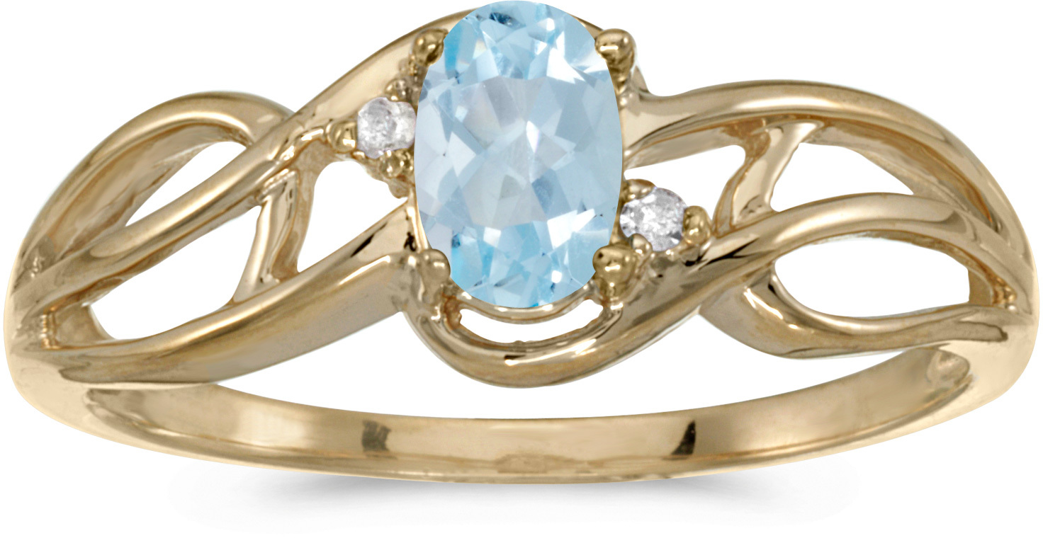 14k Yellow Gold Oval Aquamarine And Diamond Curve Ring (CM-RM2588X-03)