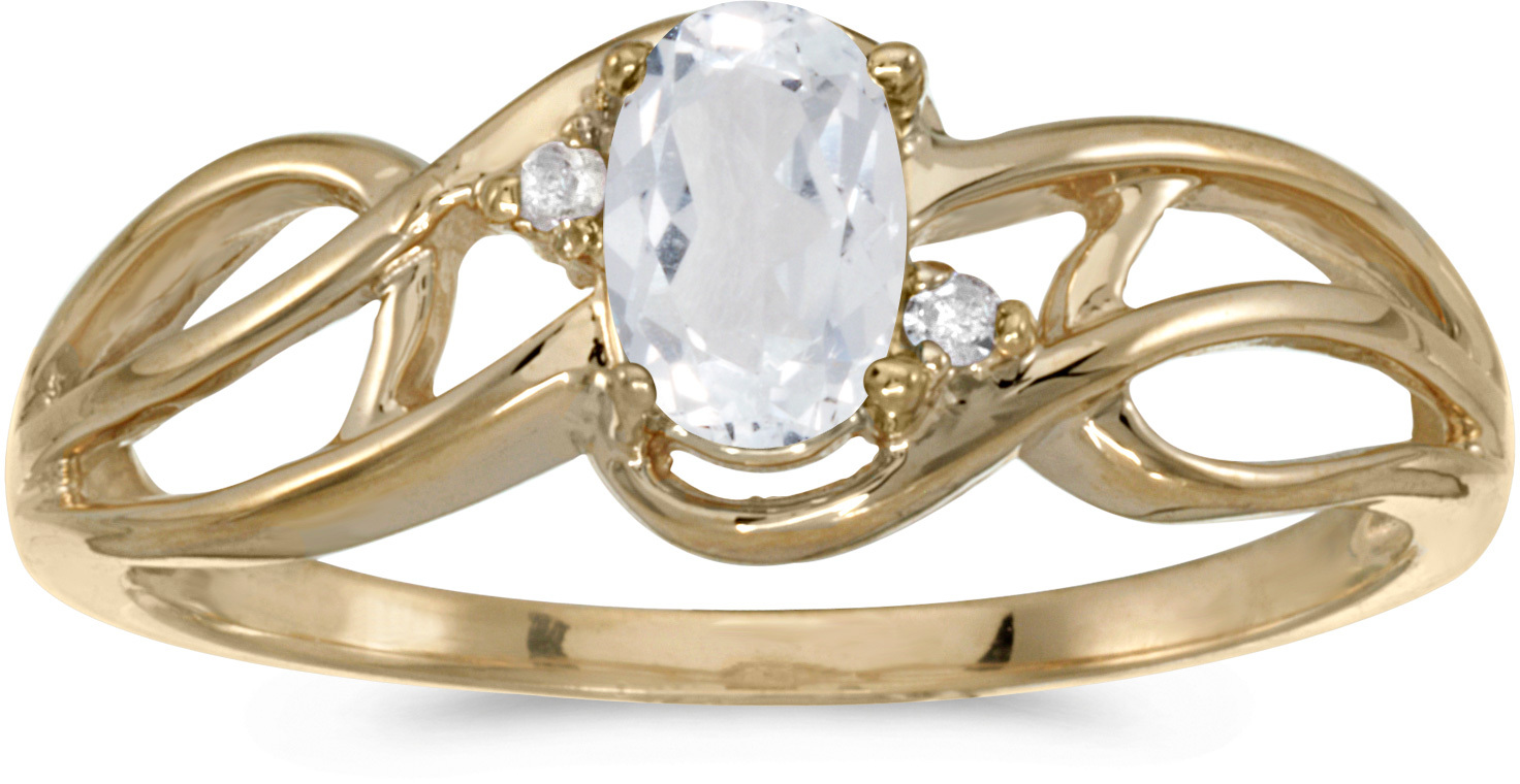 14k Yellow Gold Oval White Topaz And Diamond Curve Ring (CM-RM2588X-04)