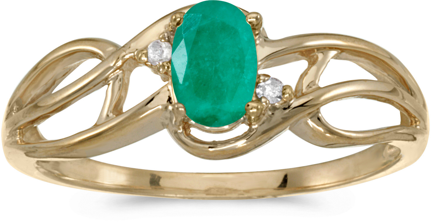 14k Yellow Gold Oval Emerald And Diamond Curve Ring (CM-RM2588X-05)