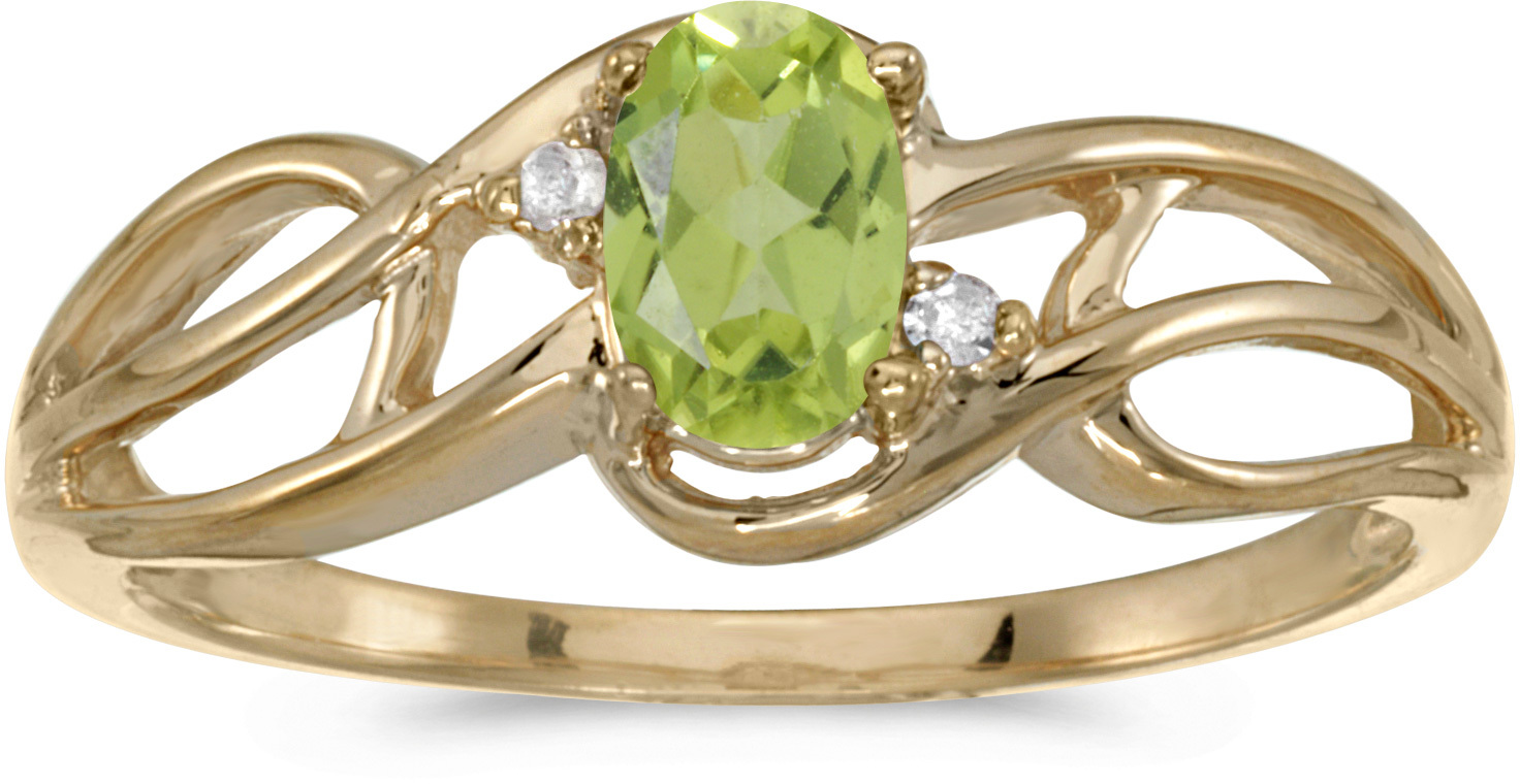 14k Yellow Gold Oval Peridot And Diamond Curve Ring (CM-RM2588X-08)