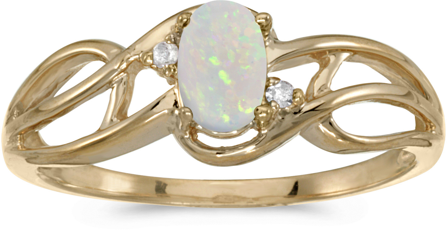 14k Yellow Gold Oval Opal And Diamond Curve Ring (CM-RM2588X-10)