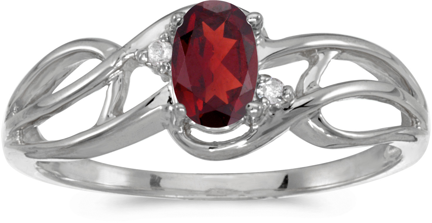 14k White Gold Oval Garnet And Diamond Curve Ring (CM-RM2588XW-01)