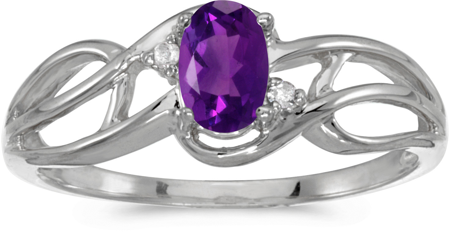 14k White Gold Oval Amethyst And Diamond Curve Ring (CM-RM2588XW-02)