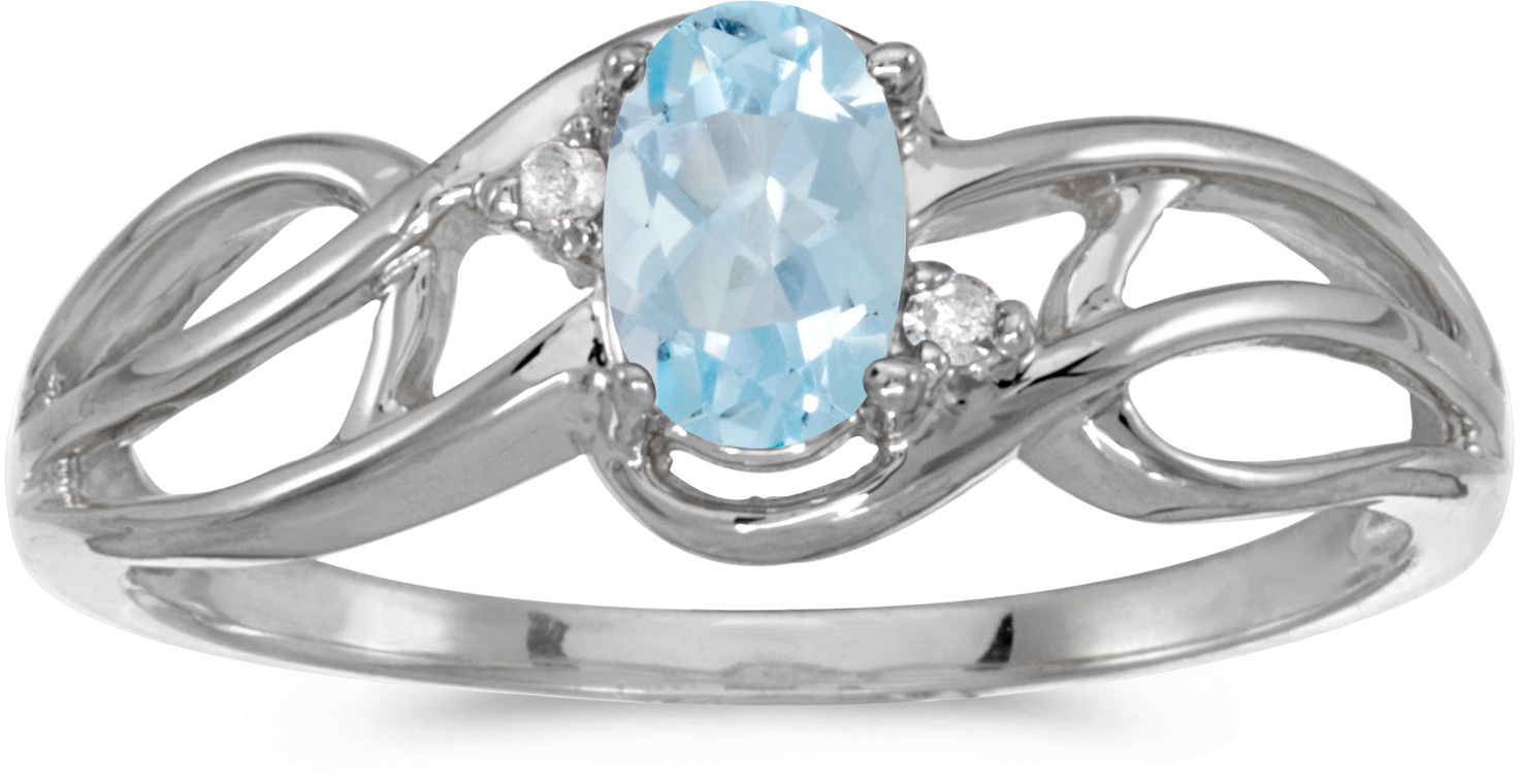 14k White Gold Oval Aquamarine And Diamond Curve Ring (CM-RM2588XW-03)