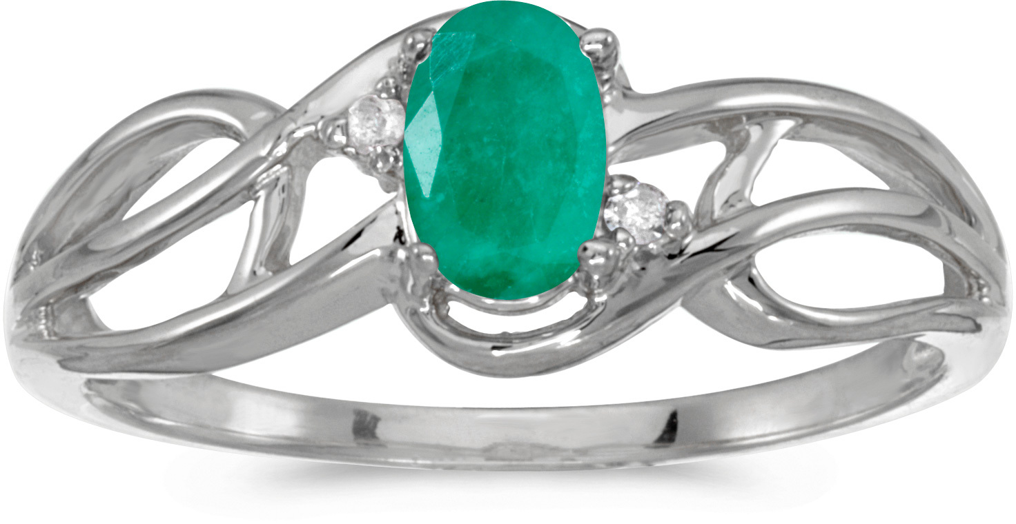 14k White Gold Oval Emerald And Diamond Curve Ring (CM-RM2588XW-05)