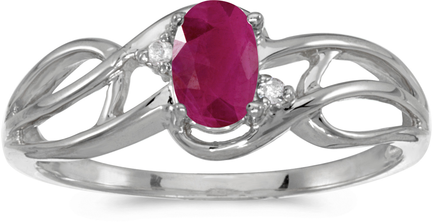 14k White Gold Oval Ruby And Diamond Curve Ring (CM-RM2588XW-07)
